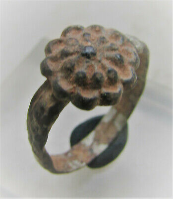 Lovely Late Byzantine Early Medieval Bronze Finger Ring With Floral Design