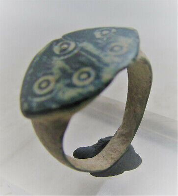 Nice Ancient Anglo Saxon Bronze Ring With Evil Eye Motifs Authentic