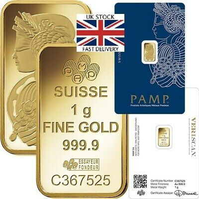 🇬🇧 PAMP 1g / 1 Gram Gold Bar Great GIFT INVESTMENT FREE & FAST 🇬🇧 DELIVERY