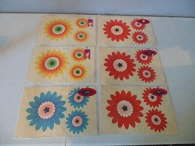"""CollectionMeyercord 1508-A Decals Blue Red Orange Hippie Mod MCM Vintage 60""""s"""