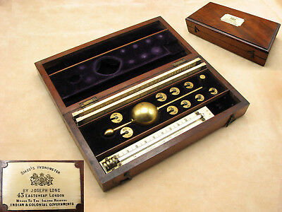 Exceptional Joseph Long 19th century Sikes Hydrometer deluxe set with bone rules