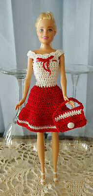 """Hand Crocheted Barbie Doll Dress w Matching Purse for 11.5"""" Standard Barbie New"""