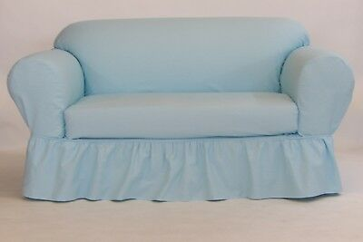 Admirable Ruffled Cotton Sofa Slipcover 2 Pc Tiffany Blue 89 99 Pdpeps Interior Chair Design Pdpepsorg