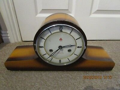 VINTAGE 555 15 DAY MANTEL CLOCK Lacquered Wooden Case Made in China 1940's & Key