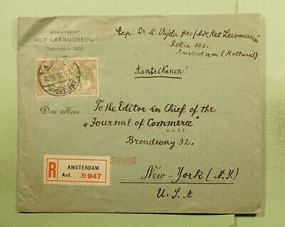 DR WHO 1921 NETHERLANDS PAIR AMSTERDAM REGISTERED TO USA MUSEUM CORNER  d93584