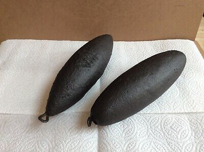 Two Vintage Iron Comtoise Clock Weights.