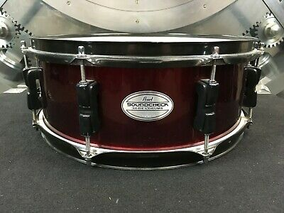 "Pearl Soundcheck Snare Drum 14 X 5.5/"" Wine Red w// Black Hardware 8 Lugs NEW!"