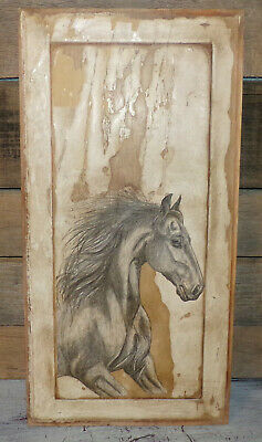 """Hand Crafted Equestrian Wall Art on Small Vintage Cabinet Door 19 x 9"""" Made USA"""