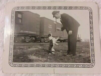 Vintage Old Photo of Boston Terrier Dog with Man & Union Pacific Train
