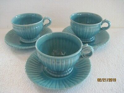 Trio of Stangl Sea Blue Full Size Cups & Saucers