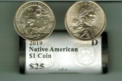 2019-D $1 Roll Of 25 Uncirculated Commemorative Contributions to Space Dollars!