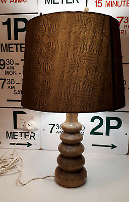 Vintage retro Wooden table Lamp Base & shade Mid Century