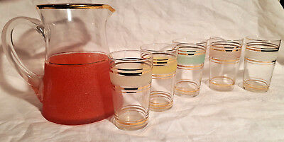 Vintage retro 60s Jug & Glass Set Gold band harlequin Drink mid-century frosted