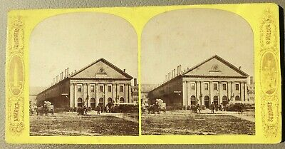 Very early 1860s Boston and Maine Railroad Station Stereoview NR!!!