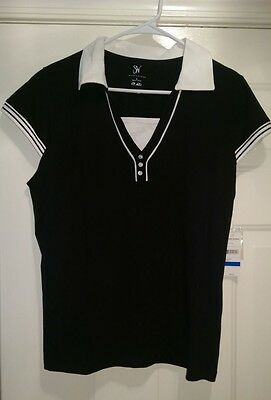 a1916219672c9 Studio Works NWT Womens Black White Solid Stripes Polo Style Shirt Top Size  XL