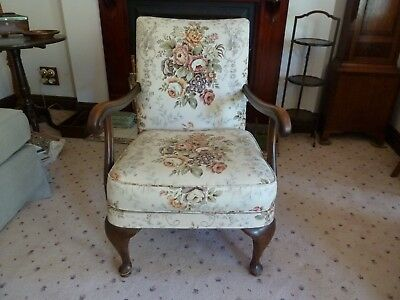 Vintage single Parker-Knoll arm-chair, floral Sanderson linen, solid timber