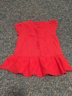 Red Spotted Floral Short Sleeved Peblum Blouse Top Baby Girls 3-6 Months