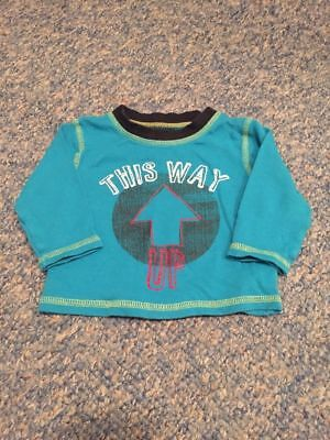 Turquouise blue this way up long sleeved top baby boys 3-6 months