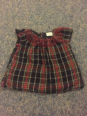 Blue Red Checked Tunic Short Sleeved Top Baby Girls 3-6 Months Clothes