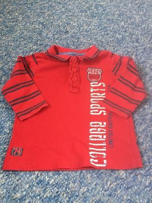 red sports themed long sleeved polo shirt top matalan baby boys 9-12 months