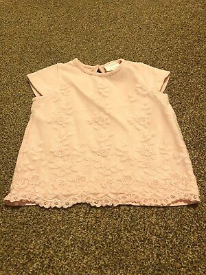 F&f Pink Ahort Sleeved Floral Embroidered Top Baby Girls 3-6 Months New