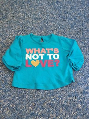 Turquoise blue whats not to love glitter long sleeve top baby girls 3-6 months