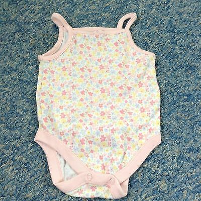 Baby girls ditsy pink yellow blue flora print strap top - 3-6 Months Clothes