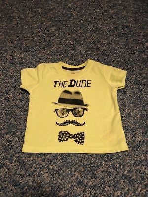 Green yellowish the dude bow beard glasses t-shirt top baby boys 9-12 months