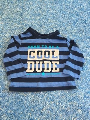 Navy blue striped cool dude long sleeved top baby boys 6-9 months clothes