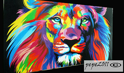 "lion Framed Canvas Print Art Painting 20"" x 16""  banksy street graffiti"