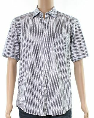 Club Room NEW White Mens Size Medium M Medallion Print Button Down Shirt $35 095