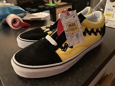 986a154e69b Vans X Peanuts Old Skool Edition Charlie Brown Black Yellow Size 9 US Men  New