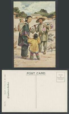 China E.S. Hardy Old Postcard A Lantern Seller, Chicken Pigs, Chinese Woman Girl