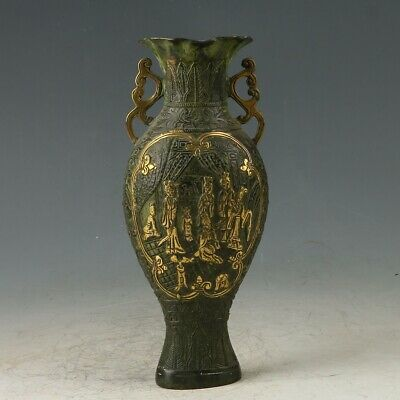 Chinese Bronze gilt Hand-carved Maid Vase W  Daqing Dynasty  Mark  MY0742