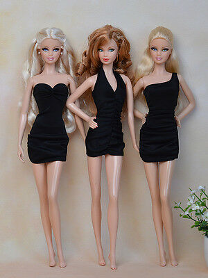Barbie Doll Set of 3 Black Party Dresses Clothes Outfit Fashion