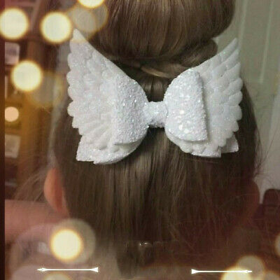 Angel Wing Princess Glitter Hair Bows with Clip Dance Party Bow Hair Clip