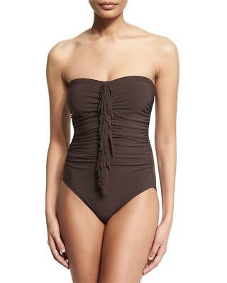8bb6fa5454d Karla Colletto Strapless chocolate bandeau Fringe One-Piece Swimsuit Sz 6  $322