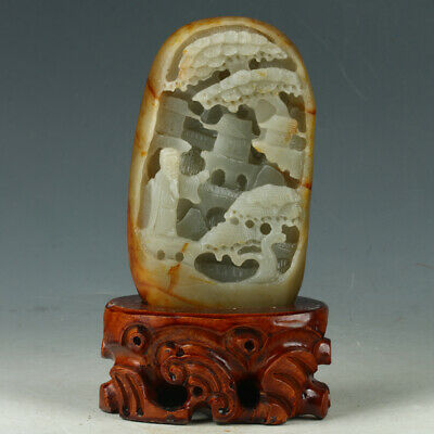 100% Natural Hetian Jade Hand-carved Tree-Old Man Statue MYGL2015