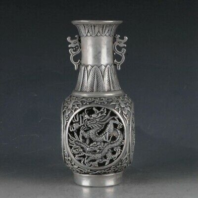 Chinese Silvering Copper Hollow Out Dragon Vase Made During The Da Ming Xuande