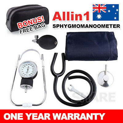 Aneroid Sphygmomanometer Arm Blood Pressure Monitor Cuff Stethoscope Meter kit
