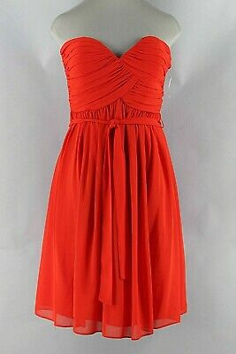9d40ad5282a2 Donna Morgan NEW $64 12 Red Polyester Chiffon Acetate Lined Strapless Dress  I345