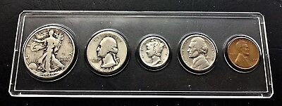 1940  US 5-Coin Set 50c, 25c, 10c, 5c & 1c in holder CIRCULATED