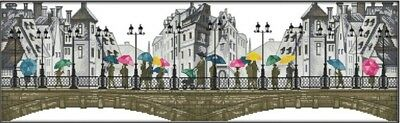 Scenery in the Rain. Buildings. 14CT Counted Cross stitch Kit. Craft Brand New