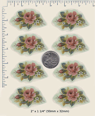 "8 x Waterslide ceramic decals Pink painted roses floral spray 2"" x 1 1/4""  PD74a"