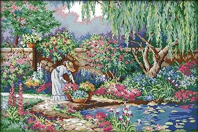 Garden Girl. 14CT counted cross stitch kit. Craft brand new.