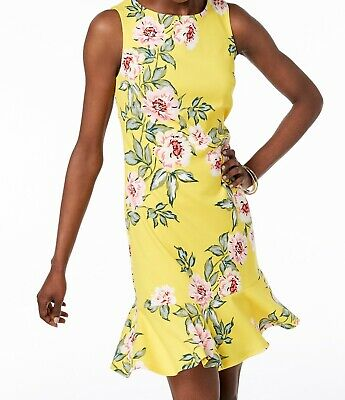 ff88931d0710 Jessica Howard NEW Yellow Womens Size 12 Floral-Print Sheath Dress $89- 020