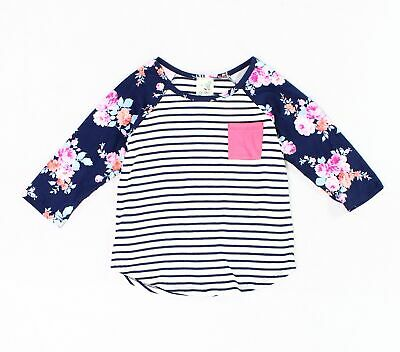 aefa756a09d4 Lily Bleu NEW Blue White Girls Size 6 Striped Floral Pocket Raglan Top 382
