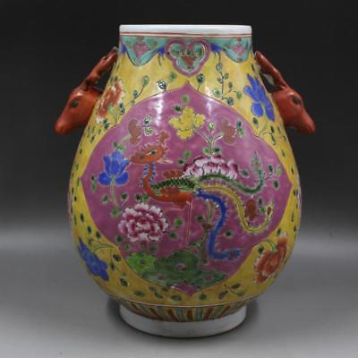 Great Chinese Antique Famille Rose Porcelain Phoenix Two Ear Vase