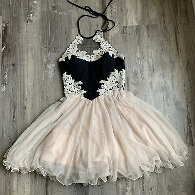 9427ad13c75 Blondie Nites 5 Dress Black Champagne Embellished Fit And Flare Prom Juniors
