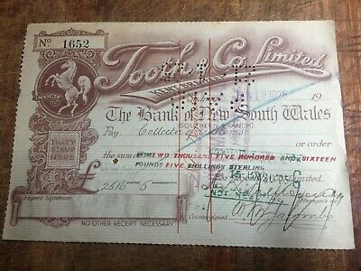 Tooth & Co Limited Cheques 1925